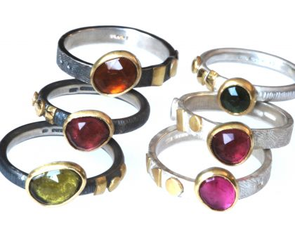 Silver rings with Tourmalines