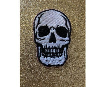 Skull iron-on patch or shoe lace patch