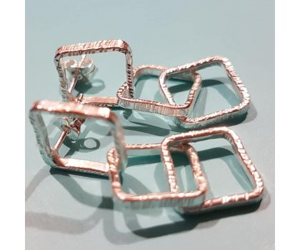 Triple Textured Square Earrings
