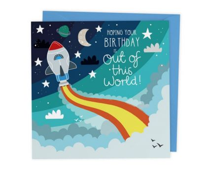 Space Themed Birthday Card with Crafty Cut Out Activity