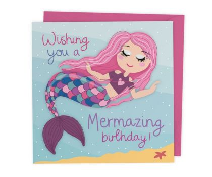 Mermaid Birthday Card with Cut out crafty activity