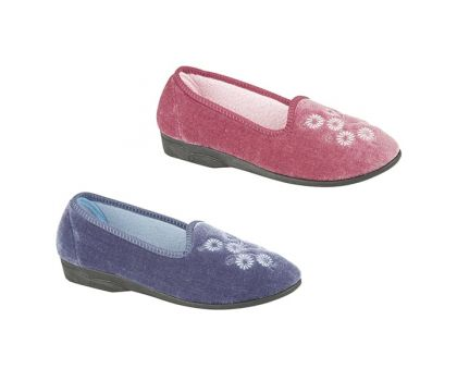 'CATHY' Blueberry Velour Embroidered Flowers Slipper