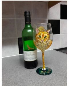 Your cat portrait handpainted onto a wine glass